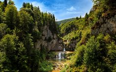 Download wallpapers Forest, waterfall, summer, river, mountains, tourism, beautiful waterfall