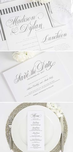 Garden Script Wedding Invitation Suite | Save The Date | Menu | Shine Wedding Invitations
