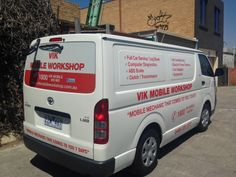 Vehicle Wrapping for Vik Mobile Workshop. Vinyl lettering and One way vision applied by Sign A Rama Box Hill.
