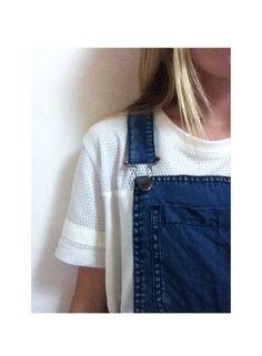 •:::•white jersey shirt under blue jean overalls•:::•