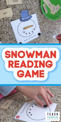 This early literacy game is so much FUN for kids! Read a word then build a snowman with this FREE printable! It's a fun reading activity for kids that makes them want to read! #literacy #reading #learning #freeprintable #games #teaching #elementary #words #kidsactivities #earlylearning #snowman