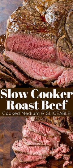 Slow Cooker Roast Beef that you can slice into tender slices cooked to a perfect medium temperature. Enjoy for dinner or sliced thinly in sandwiches, you will never buy the deli variety again! (steak in crock pot slow cooker) Crock Pot Recipes, Roast Beef Recipes, Slow Cooker Recipes, Cooking Recipes, Kabob Recipes, Fondue Recipes, Sandwich Recipes, Recipies, Oven Recipes