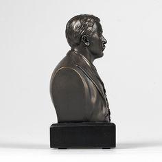6-inch High Theodore Roosevelt Bust Sculpture Statue in Bronze Finish