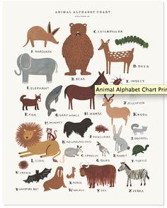 http://riflepaperco.com/item/Animal_Alphabet_Chart_Print/89/c4    Animal Alphabet Chart / Poster