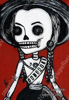 Adelita skeleton 5x7 Day of the Dead art print