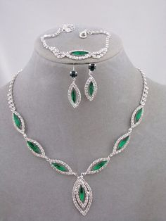 Silver Green  Crystal Rhinestone Necklace Earring Bracelet Set  Jewelry NEW…