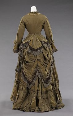 Brown Silk Bustle Dress with Fringe, c. 1875 (Back View).  <3 it