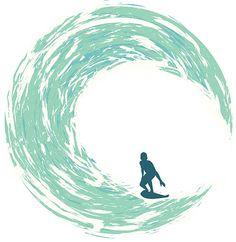 サーファーの乗馬、円形の波 ベクターアートイラスト