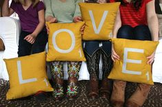 love these LOVE scrabble pillows, just maybe in a different color :)