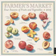 Farmer's Market 2015 Wall Calendar: Four Seasons of Fruits and Vegetables by John Burgoyne Donut Peach, In Season Produce, Fruits And Vegetables, Vegetables List, Food Facts, Food Illustrations, Eating Habits, Farmers Market, Healthy Lifestyle