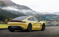 Here's What the Production Porsche Taycan Could Look Like Porsche Yellow, Porsche Taycan, Triumph Motorcycles, Custom Motorcycles, Dirtbikes, Modified Cars, Future Car, Go Kart, Electric Cars