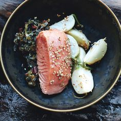 Slow-Cooked Salmon with Turnips and Swiss Chard -This low-heat method is very gentle, lending the salmon a velvety texture.