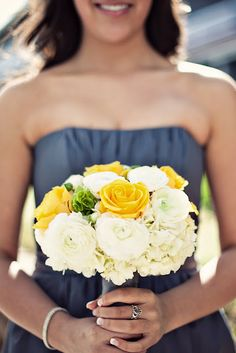 bridesmaids bouquet ~ yellow flowers with grey wrap