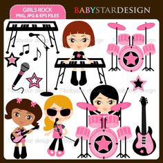 """14 graphic elements of """"Girls Rock"""" theme. Perfect for your birthday party invitations, craft projects, paper products, stationery, scrapbooking, web designs, stickers and many more!"""