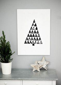 Selbstgemachtes Wandbild für Weihnachten - Druck mit Spülschwamm - Anleitung