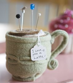 I love you a latte! pin cushion by paper pony, via Flickr