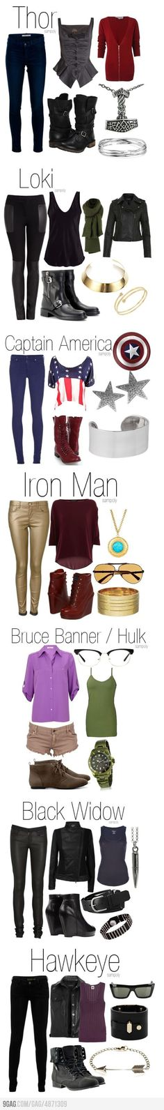 Avengers style, assemble! I call dibs on Hulk. Mostly because I already have that outfit.