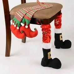 Complete your dining room décor with these Santa stompers! Our Christmas Chair Leg Covers are crafted with plush fabrics for an authentic Santa and elf look. Christmas Chair, Christmas Sewing, Noel Christmas, Winter Christmas, Christmas Stockings, Funny Christmas, Christmas Kitchen, Christmas 2019, Christmas Projects