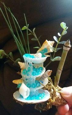 Shell fairy fountain - stuff I create - Seashell Art, Seashell Crafts, Beach Crafts, Fun Crafts, Diy And Crafts, Fairy Crafts, Garden Crafts, Garden Ideas, Diy Waterfall