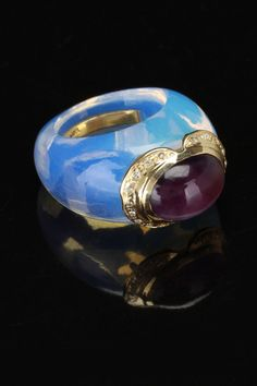 gold blowout Blue Topaz Ring With 14k Yellow Gold, Amethyst & Diamond!!!