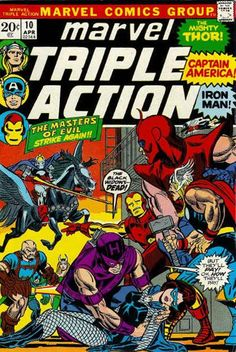 Marvel Triple Action #10 - Avengers; LOVED these custom covers for the reprints! Gil Kane works his magic here.