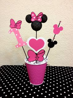 Minnie Mouse Pink and Gold Birthday Centerpiece Table toppers/skewers Zebra Birthday Decorations, Minnie Mouse Party Decorations, Birthday Centerpieces, Baby Shower Centerpieces, Birthday Table, Gold Birthday, First Birthday Parties, First Birthdays, Birthday Banners