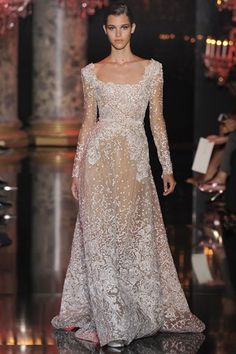 Elie Saab couture AW 14/15 white lace, wedding, sleeves, beaded
