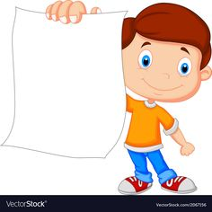 Cartoon boy holding blank paper vector image on VectorStock