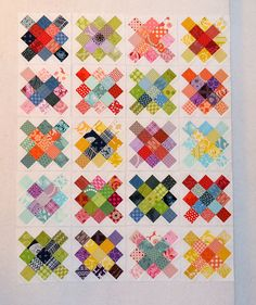 House of ala modes granny squares.... love the colors! Patch Quilt, Scrappy Quilts, Mini Quilts, Baby Quilts, Patchwork, Quilt Block Patterns, Quilt Blocks, Quilting Projects, Quilting Designs
