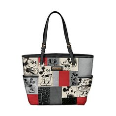 Disney Patches Of Love Women's Patchwork Handbag Featuring Mickey... ($119) ❤ liked on Polyvore featuring bags, handbags, disney, patchwork handbags, zip bags, mickey mouse bag, white purse and white handbags