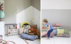 Vlakken schilderen kinderkamer Play Clothing, Kidsroom, Playroom, Toddler Bed, Kids Fashion, Projects To Try, New Homes, Wall Decor, Furniture