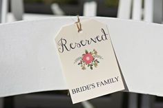 Matching DIY stationary for this backyard wedding in Winston Salem, NC. Even these reserved seating tags matched the programs! #backyardwedding #reservedseating #ceremonyseating @cindyinnc @hannacheek