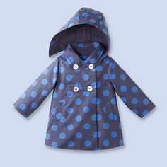 Water repellent polka dot coat for baby, girl