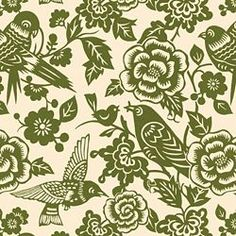 AVIARY - THOMAS PAUL - MOSS fabric to recover the wooden chair