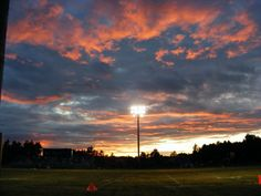 Footfall Fairfax Patriots, under the lights and beautiful sunset St Albans Vermont