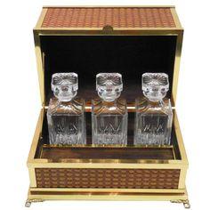 Mid-Century Italian Brass Tantalus Liquor Cabinet 1