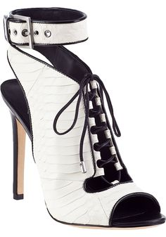 B Brian Atwood Lodosa Lace-up Bootie White Snake - Jildor Shoes, Since 1949