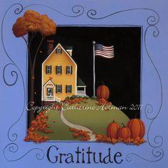 Thanksgiving Folk Art Print Gratitude by catherineholman on Etsy, $16.95