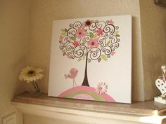 butterfly paintings on canvas for kids rooms | Nursery Art Canvas Kids Room Painting, nursery tree, nursery wall art ...