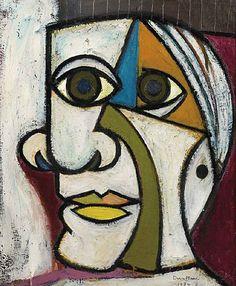 """""""A deux faces"""" Portrait de Picasso par Dora Maar, 1936. 1936 : un an après leur rencontre à la terrasse des Deux Magots, Dora Maar (Henriette Markovitch de son vrai nom, 1907-1997) peint le Portrait de Picasso (1881-1973)."""
