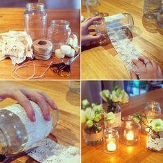 DIY Dentelle mania : photophores, lampions, boîtes et centre de table | Le blog organiser un mariage