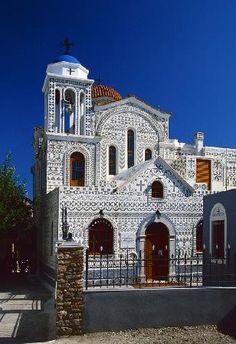 Church Of Geometric Pattern, Pyrgi village in Chios Island, Greece Chios Greece, Greek Pattern, Places In Greece, Greek Isles, Church Architecture, Samos, Greece Islands, Chapelle, Greece Travel