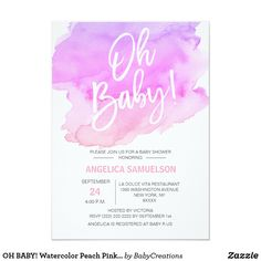 OH BABY! Watercolor Peach Pink Purple Baby Shower