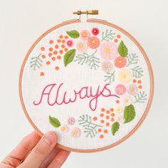 Always Botanical Embroidery Hoop Art by doalittledance