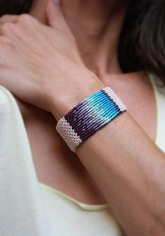 Macrame bracelet wrist strap blues and purples