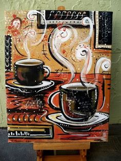 This is a one of a kind acrylic painting on canvas by Cindy Hesse. The painting is signed and dated. Coffee for two! This is an original abstract painting done on stretched canvas Sides are painted so no need for a frame, unless desired. Coffee Artwork, Coffee Cup Art, Coffee Cafe, Coffee Shop, Coffee Painting Canvas, Canvas Art, Cavas Painting, Tea Art, Coffee Signs