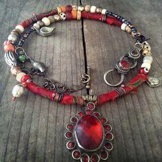 Quisnam - Boho necklace / silk wrapped, beaded wrap necklace, vintage kuchi pendant, gypsy jewelry, bohemian jewelry