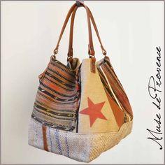 sac cabas en pièce unique fait main tapis, jute et cuir 4