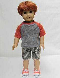 American Girl Boy Doll Clothes  Plaid Shorts and by Minipparel, $26.00