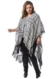 Plus Size Kimono Fringe Poncho